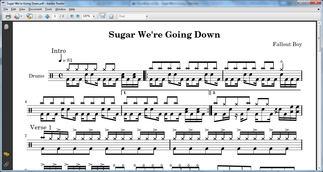 image relating to Free Printable Drum Sheet Music identified as Sheet Songs DrumBurp