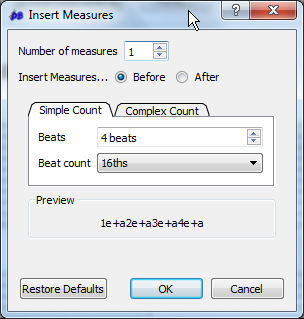 Choose other measures to insert