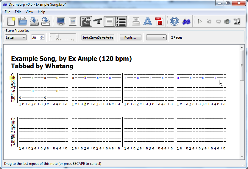 Drag the mouse to where you want the repeated notes to end.