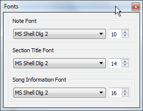 Fonts window