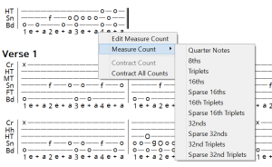 Picking a new measure count from the context menu.